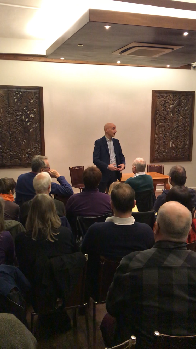 Andrew addresses a crowd in Peterborough