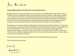 A letter to Sharon White re: the BBC's proposed Enoch Powell Broadcast