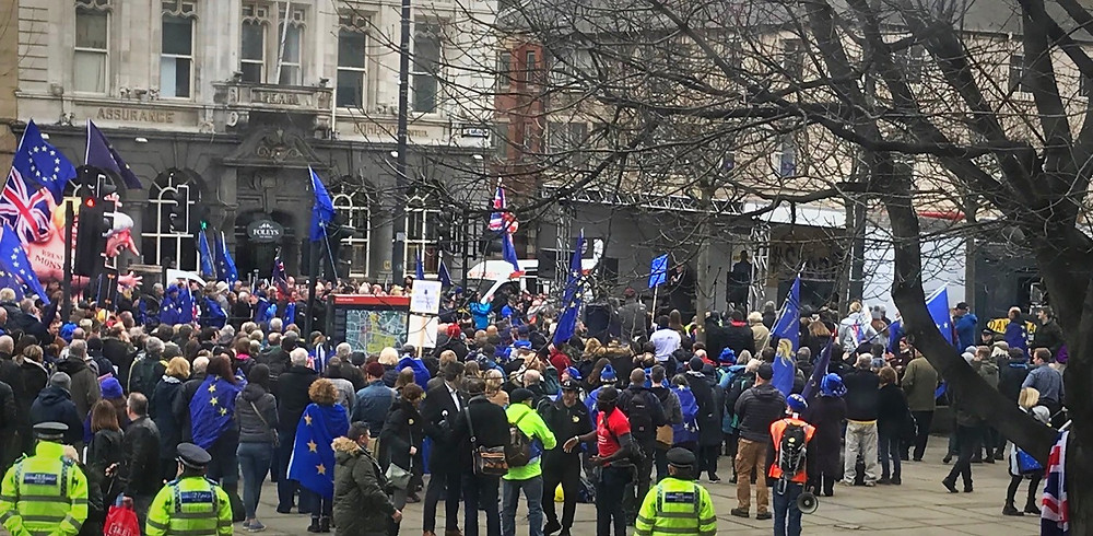 An anti-Brexit protest in Leeds