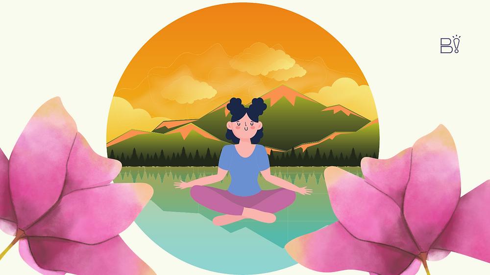 [montagem] mulher meditando no centro, ao fundo uma montanha ao por do sol e um lago calmo. duas flores gigantes nas laterais.