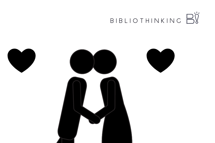[montagem] fundo branco, um casal está de mãos dads e encosta as cabeças de frente um para o outro. Dois corações próximo ao casal. Logo do Bibliothinking.