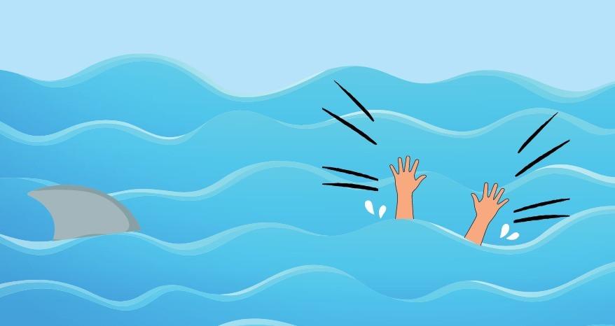 [Ilustração] Alto mar, dois braços para fora da água e sinal de atenção. Uma barbatana de tubarão está próximo.