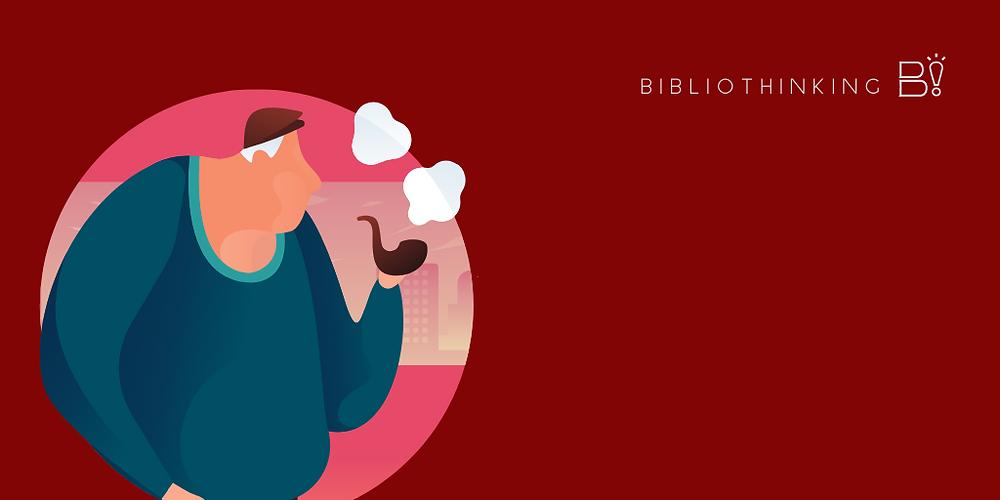 [Montagem e ilustração] fundo vermelho, no canto esquerdo um idoso fuma um cachimbo. Logo do Bibliothinking no canto superio direito.