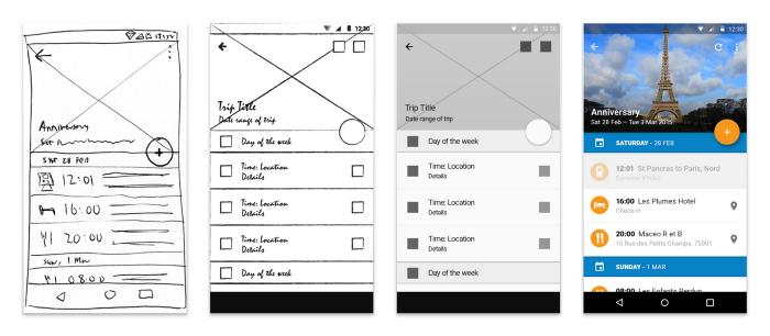[montagem] Quatro telas de celular, duas primeiras desenhadas a mão, a terceira feita em um programa de poucos recursos, a última tem cores e parece real.