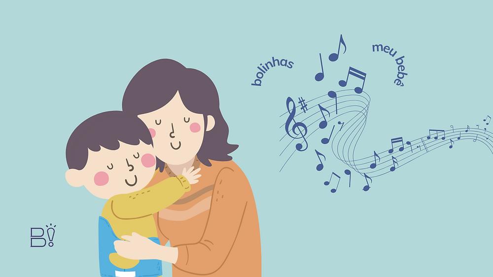 [ilustração] Um mulher abraça um menino. Notas musicais ao fundo e palavras soltas. Fundo azul claro. Logo do Bibliothinking no canto inferior esquerdo.