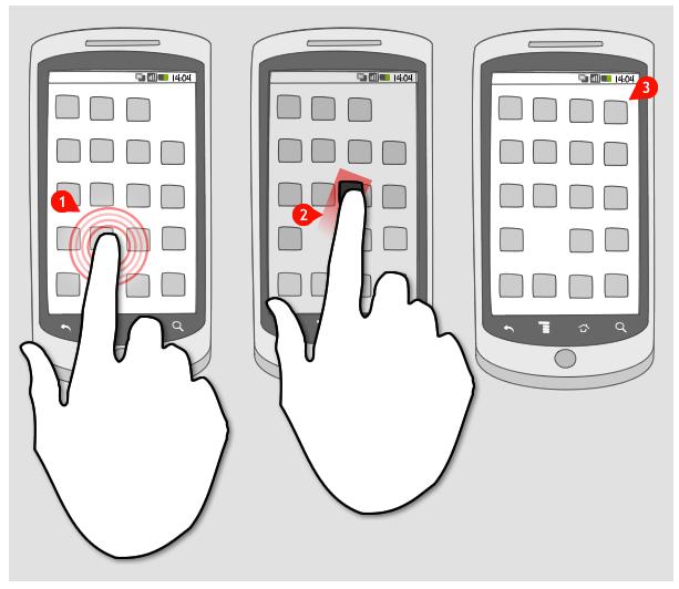 [Ilustração] Três telas de celular desenhadas em preto e branco, indicando uma jornada ao clicar em um aplicativo em 3 fases.