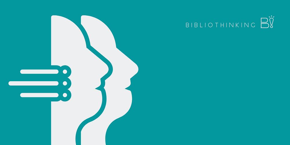 [montagem] Dois perfis de rosto humano se sobrepõe de lado, da esquerda para a direita, de forma incompleta como que em duplicidade. Fundo verde e logo do Bibliotinking no canto superior direito.