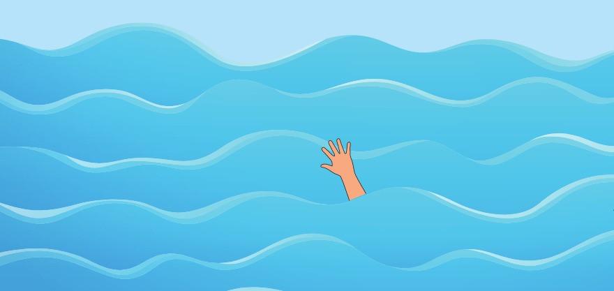 [Ilustração] Alto mar, um braço para fora da água.