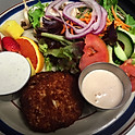 Crab Cake with side salad and fruit