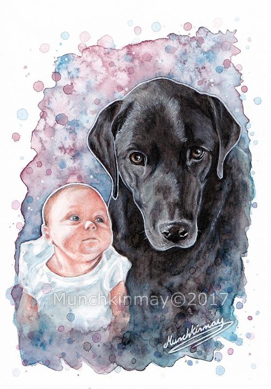 Baby and Labrador