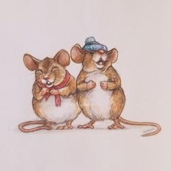 Happy mice in knitwear
