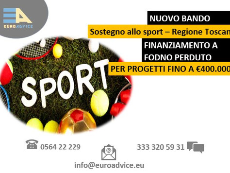 NUOVO BANDO: Sostegno allo sport promosso dalle Regione Toscana.
