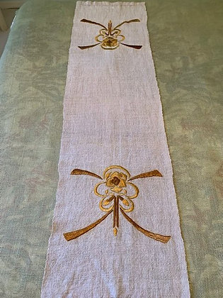 Brown Stylized Floral Runner # 15.