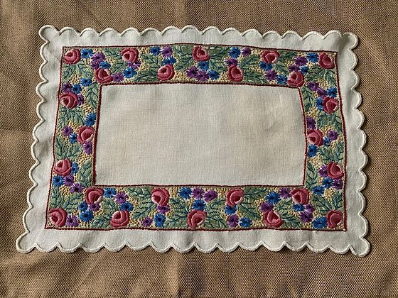Embroidered Floral Mat #1 SOLD