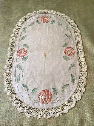 Embroidered Rose Oval # 6