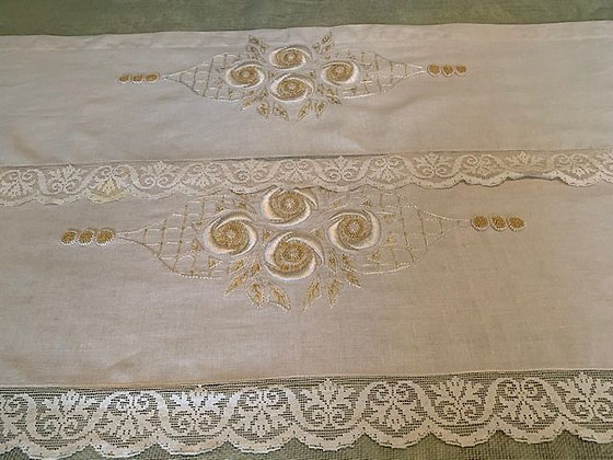 Pair of Linen Embroidered Valances