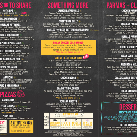 New Dinner Menu - What're you hungry for?