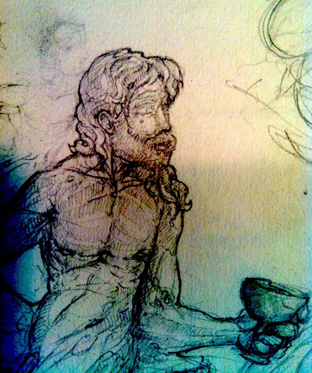 Bacchus sketch detail