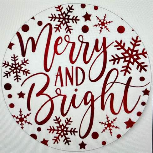 Merry and Bright Round with Snowflakes
