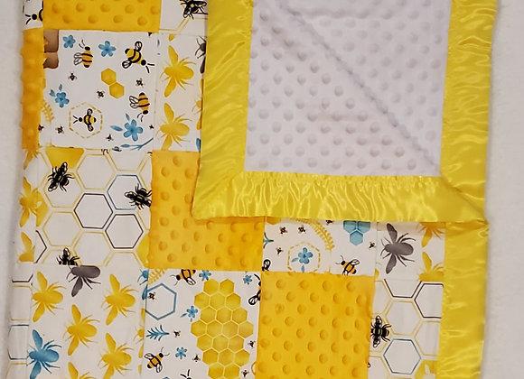 Bear & Honey Nursery 3D Patch  Blanket w/ reverse side Soft & Minky Baby Blanket