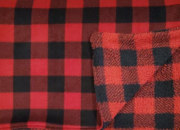 Sew Lush Buffalo Checker Fleece with reverse side Buffalo Checker Sherpa
