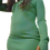 Thumbnail: Sexy Women Long Sleeve Knit Solid Color Zipper Front Bodycon Dress