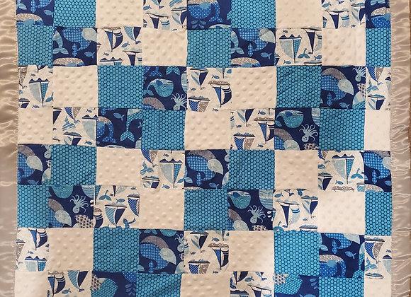 Whales Nursery 3D Patch  w/ reverse side Soft & Minky Baby Blanket