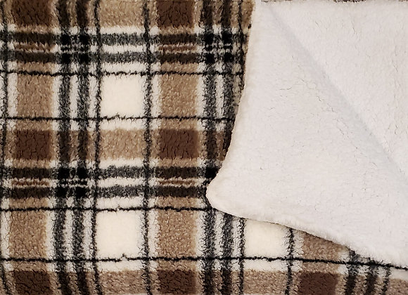 Cream Tan Plaid Sherpa with reverse side White Sherpa Oversized Throw