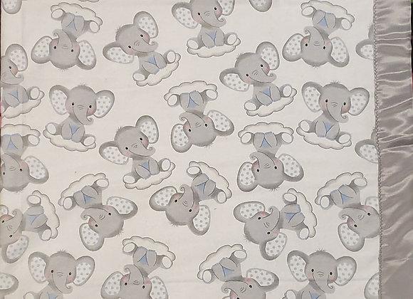 Sleepy Elephants on Clouds Nursery 3D Patch Baby Blanket