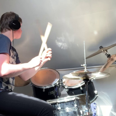 Alfie J plays You Give Love a Bad Name' on Drums