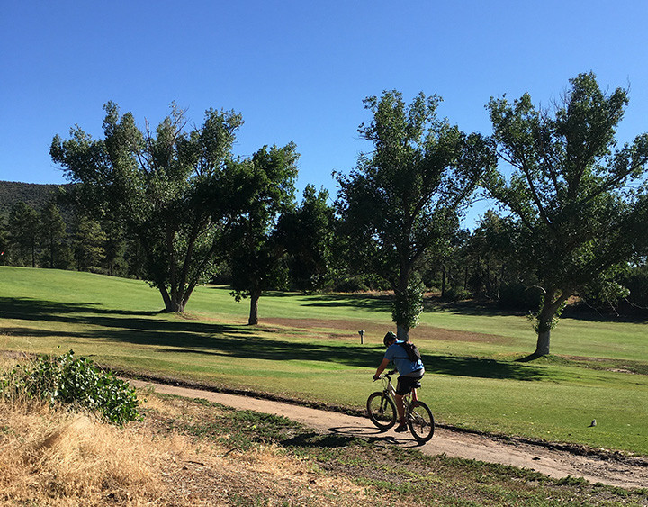 man riding bicycle near golf course
