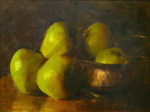 Green Apples in Copper Bowl