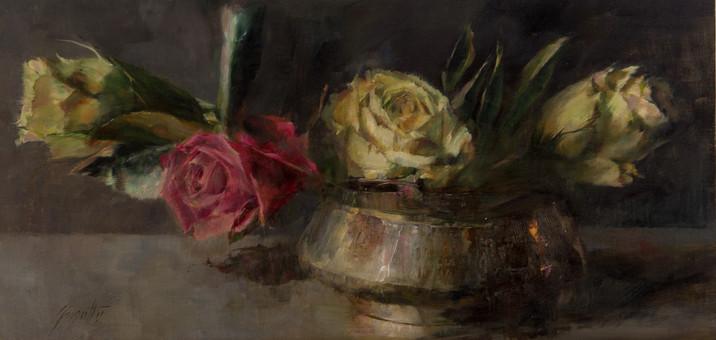 Roses in Copper Pot