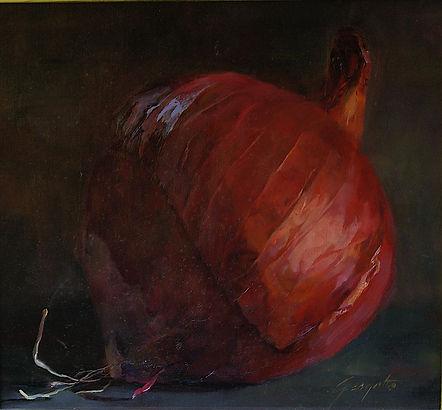 Peeling Red Onion oil painting Ann Gargotto