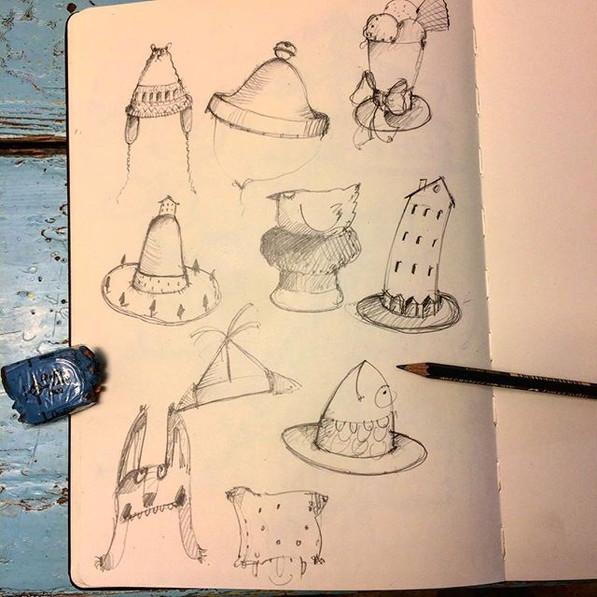 collection of hats for #makeartthatsells #childrensbookillustration #hats #matskidbook