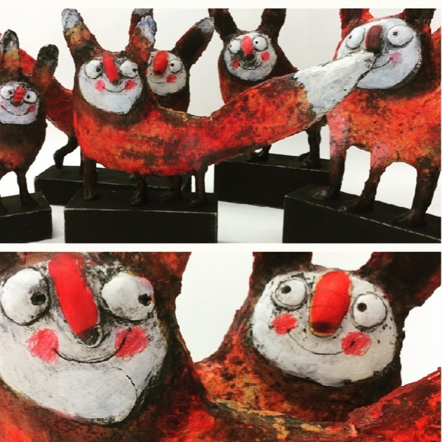 This is the red nose fox gang I made them for the gallery show _regulabrun in Lucerne #artistoninsta