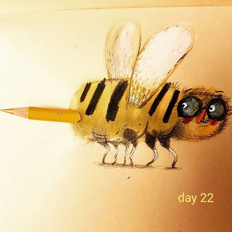 Who want's to be stung  with colour__#the100dayproject #100daysofcharacters  #bee #childrensbookillustrator lustrator #cartoon #kidlitillust