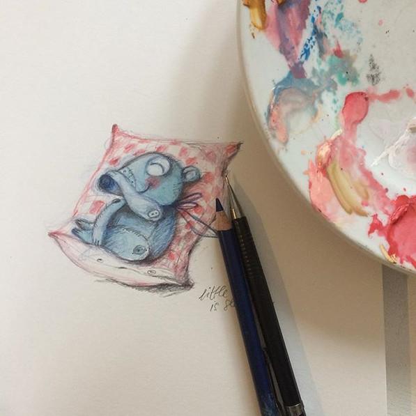 little, little bear is sleeping😚#matskidbook #childrensbook #childrensbookillustration #makeartthatsells #colourpencil