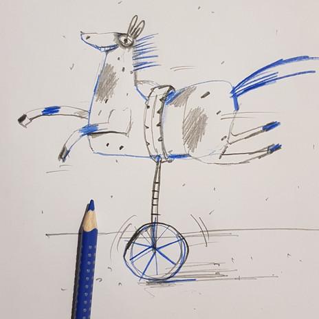 Vladimir the horse on a wheel