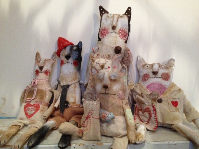 stuffed cat group