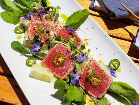 Seared Ahi Appetizer with Edible Flowers & AWAKE CBD Oil
