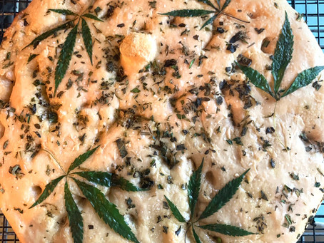 Focaccia with Cannabis leaves and Italian Herbs