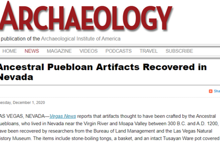 Ancestral Puebloan Artifacts Recovered in Nevada