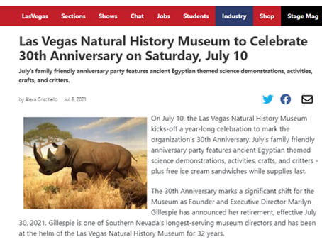 Las Vegas Natural History Museum to Celebrate 30th Anniversary on July 10