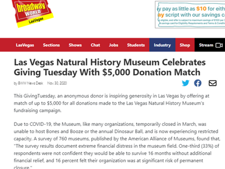 Las Vegas Natural History Museum Celebrates Giving Tuesday With $5,000 Donation Match