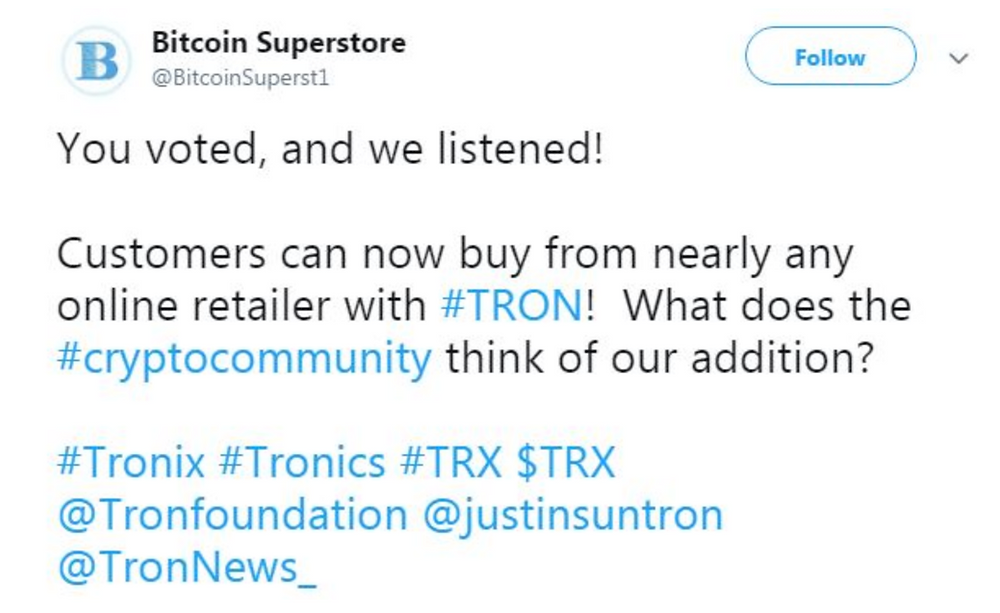 bitcoin superstore now accepting tron trx