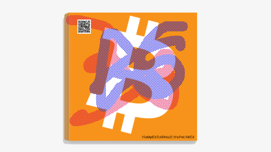 Bitcoin 25x25 cm Canvas Art Print w/ real Bitcoin