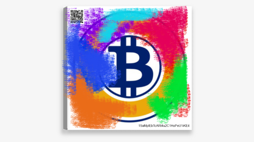 Bitcoin Gold 25x25 cm Canvas Art Print w/ real Bitcoin Gold