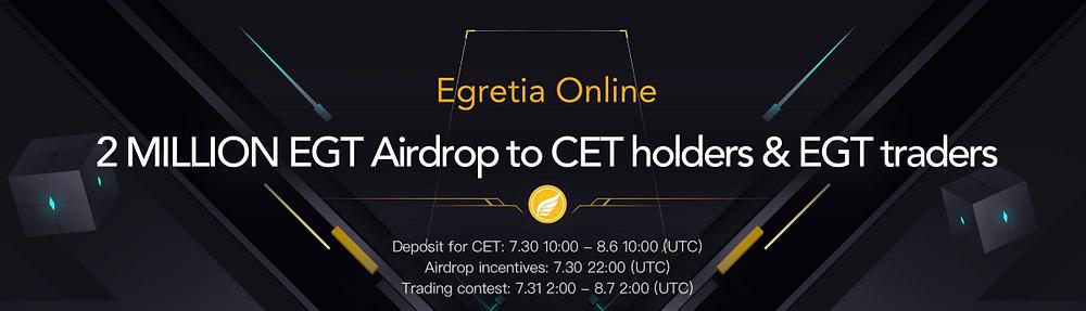 EGT airdrop to CET holders