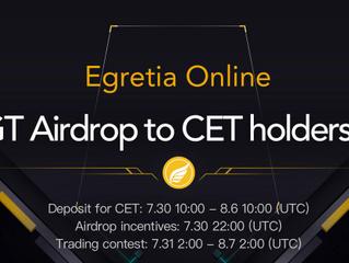 Egretia Online: 2 Million EGT Airdrop to CET holders & EGT buyers